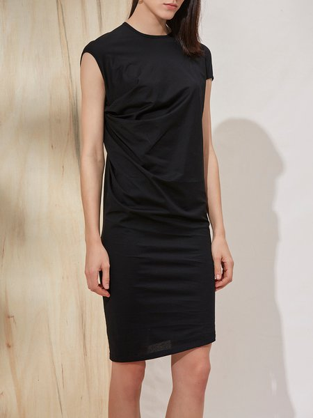Folds Sleeveless Simple Sheath Midi Dress