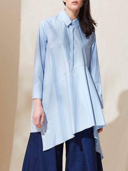Folds Asymmetrical Long Sleeve Cotton Shirt Collar Tunic