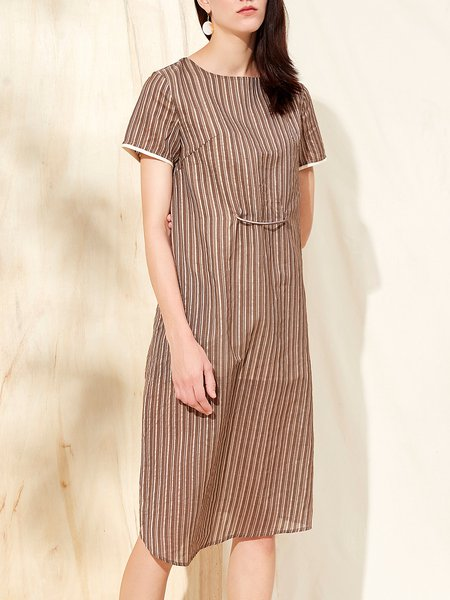 Camel Stripes H-line Printed Simple Midi Dress
