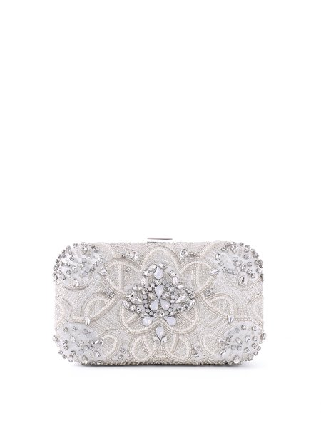 White Beaded Push Lock Evening Clutch with Silver-tone Hardware