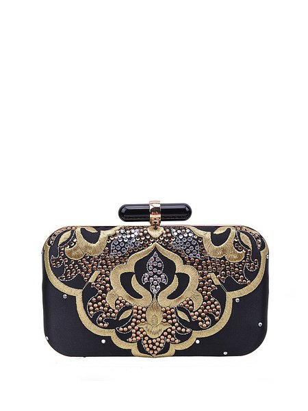 Chinoiserie Black Embroidery Snap Evening Clutch with Gold-color Hardware