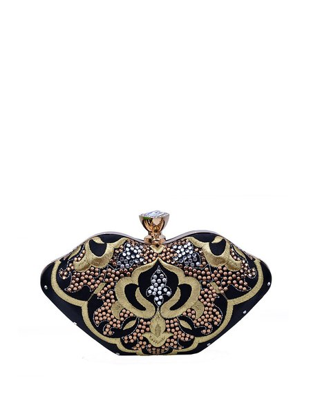 Chinoiserie Black Embroidery Snap Evening Clutch with Rhinestone