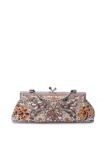 Black Beaded Embroidery Snap Evening Clutch with Gunmetal-tone Hardware