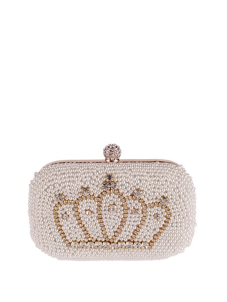 Mini White Artificial Pearl Evening Snap Clutch