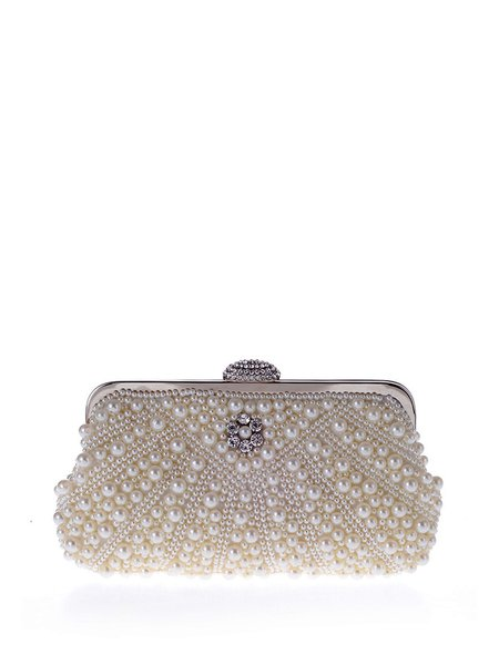 White Snap Evening Clutch with Artificial Pearl