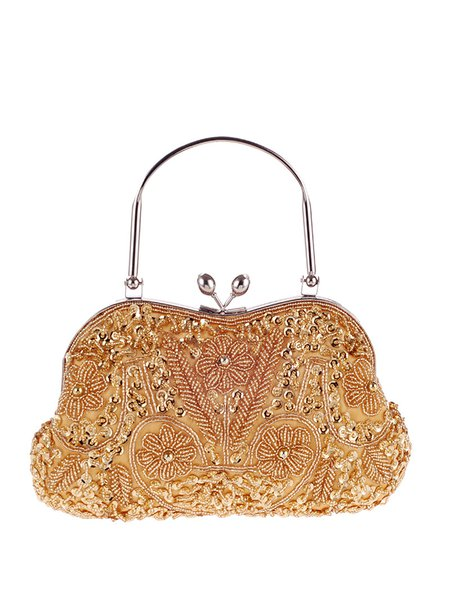 Golden-Color Beaded Evening Snap Clutch with Silver-tone Hardware