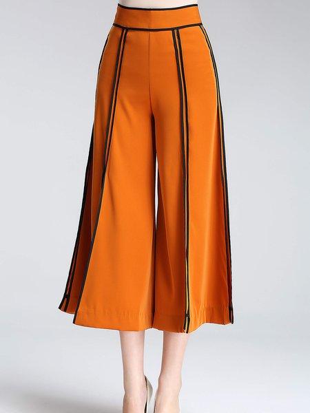 Orange Slit Casual Color-block Wide Leg Pants