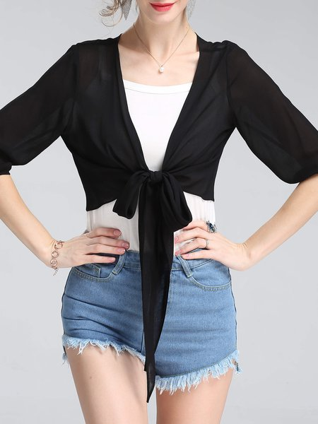 Half Sleeve Knot Bow Solid Rayon Casual Coat