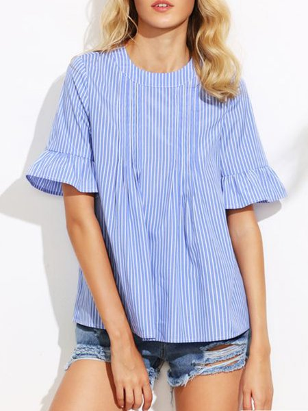 Blue Stripes Ruffle Cuff Stripes Tops