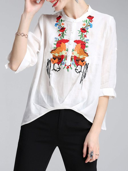 White Casual High Low Cotton Embroidered Blouse