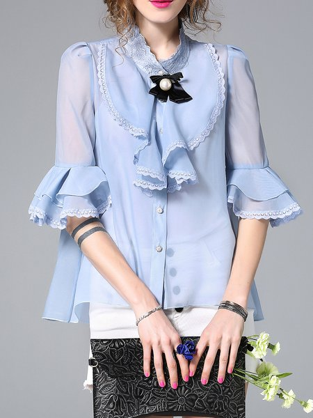 Stand Collar Frill Sleeve Solid Blouse