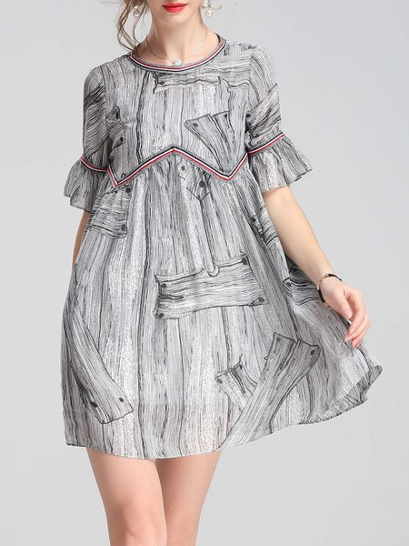 Bell Sleeve Printed A-line Casual Crew Neck Mini Dress