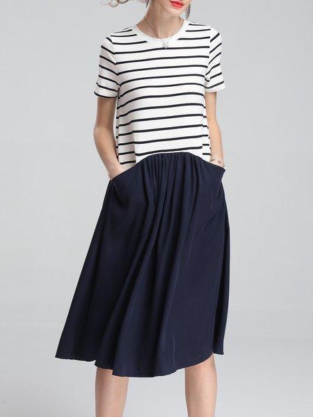 Paneled Short Sleeve Pockets Casual  Midi Dress