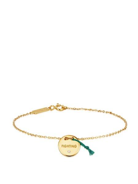Golden Round Zircon 14k Gold Plated Bracelet