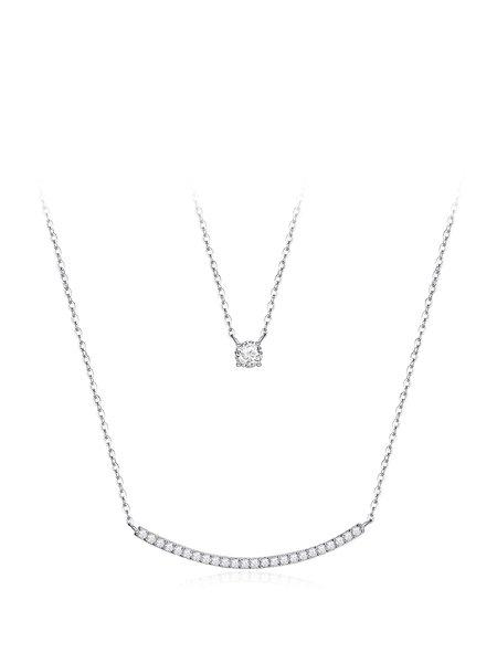 White Geometry Zircon Necklace