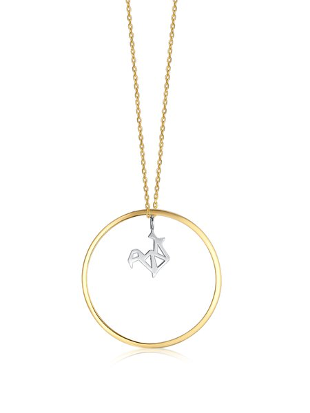 Golden-white Round 925 Sterling Silver Necklace