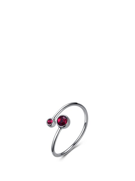 Red Crystal Round 14k Gold Plated Aries Ring