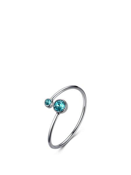 Mint Round 925 Sterling Silver Crystal Capricornus Ring