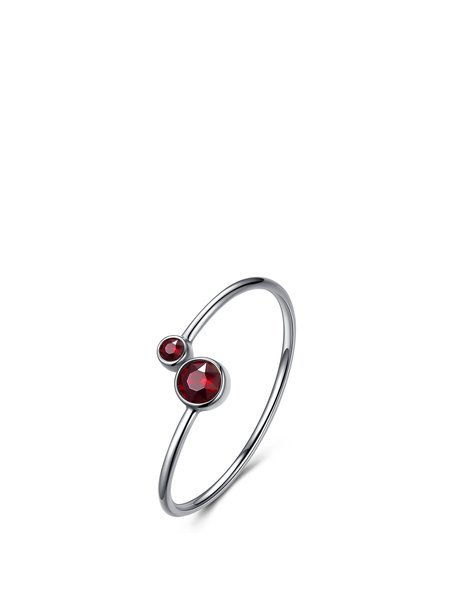 Red 925 Sterling Silver Round Gemini Ring