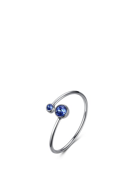 Blue Round Crystal 925 Sterling Silver Aquarius Ring