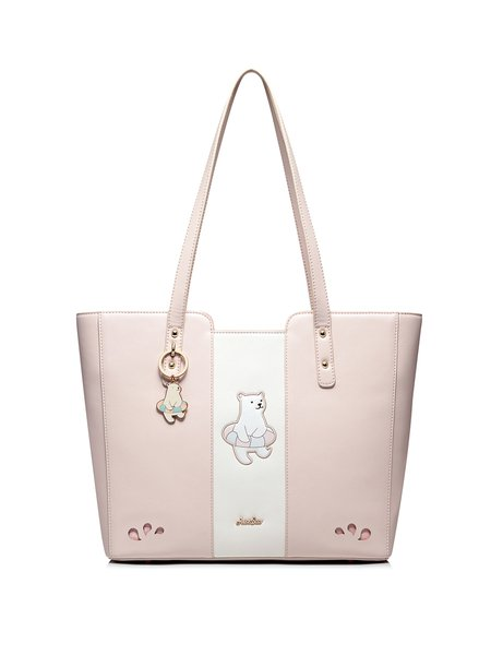 Large Pink Sweet Bear Embroidered Zipper Tote