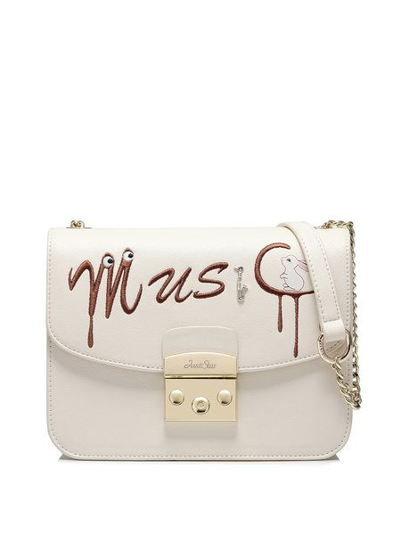Beige Fold-over Flat Top Crossbody Bag