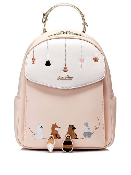 Pink Fold-over Flat Top Embroidered Sweet Backpack