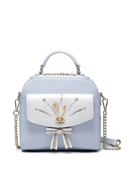 Light Blue Sweet Zipper Crossbody Bag