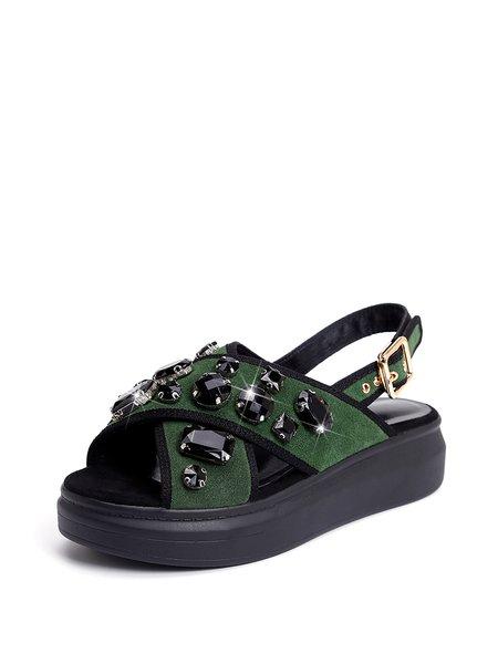 Army Green Summer Cowhide Leather Platform Rhinestone Sandals