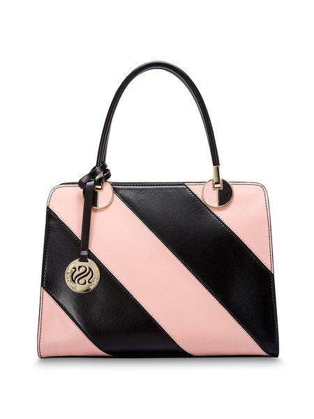 Pink-black Zipper Split Leather Shoulder Bag
