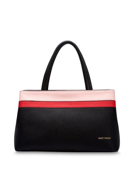 Black Split Leather Zipper Casual Shoulder Bag