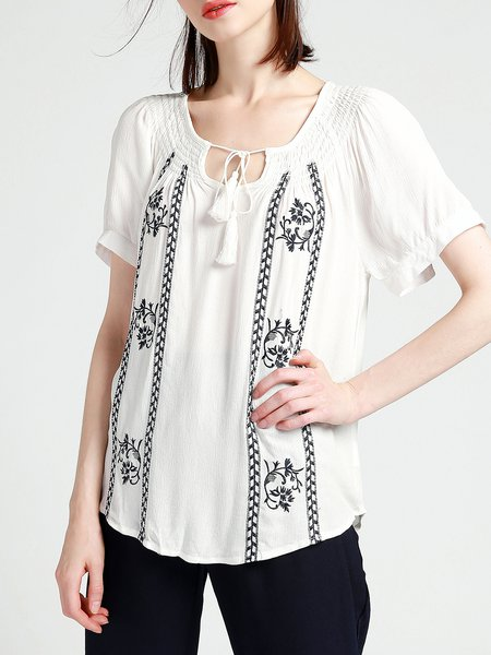 White Embroidered Boho Shirred Blouse
