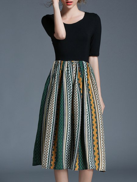 Half Sleeve Tribal A-line Midi Dress