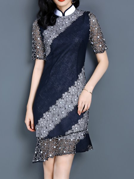 Sheath Crocheted Short Sleeve Pierced Casual Midi Dress
