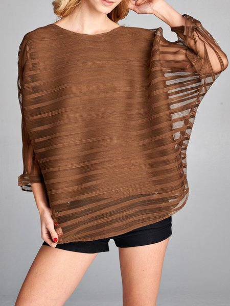 Brown Stripes Printed Casual Tunic