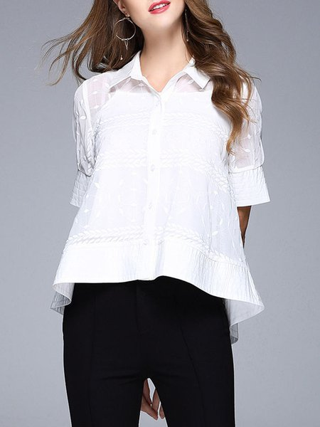 Embroidered Short Sleeve Girly Shirt Collar Blouse