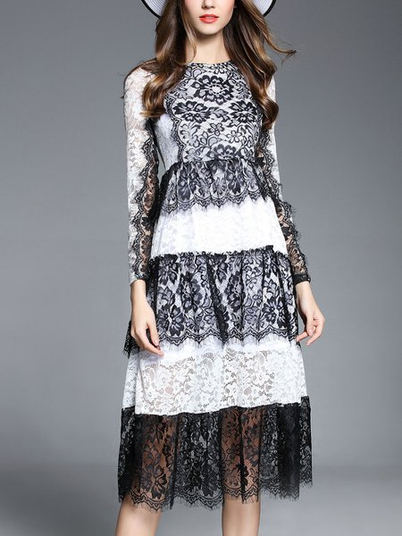 Long Sleeve Casual Crocheted Lace Tiered Midi Dress