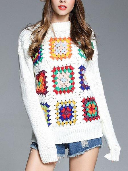 White Long Sleeve Crew Neck Sweater