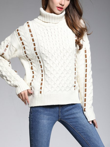 White Wool Blend Long Sleeve Turtle Neck Sweater