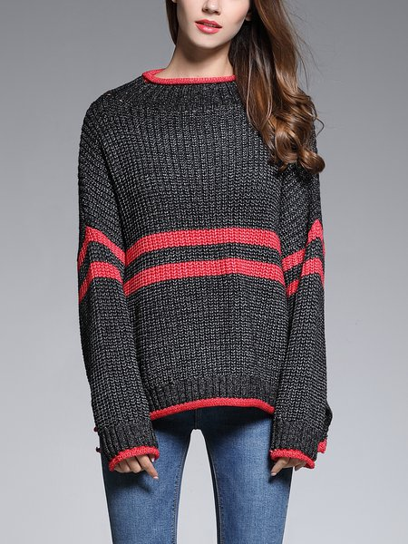 Black Crew Neck Long Batwing Sleeve Sweater
