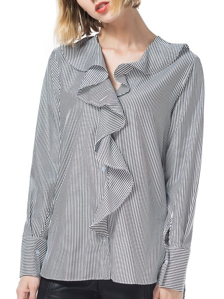 Stripes Girly Ruffled Long Sleeve Blouse