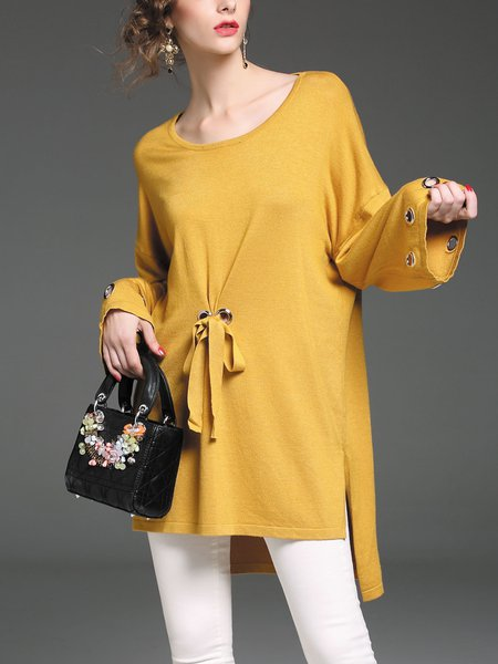 Yellow Long Sleeve Crew Neck High Low Sweater