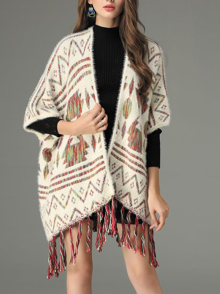 Beige Casual Tribal Fringed Poncho And Cape
