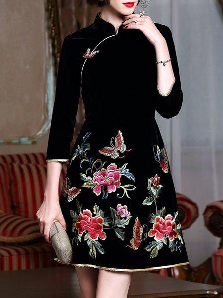 Black Stand Collar A-line 3/4 Sleeve Midi Dress