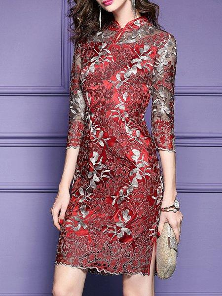 Plus Size Elegant Embroidered Overlay Floral Midi Dress