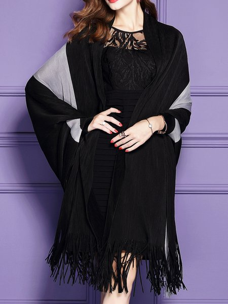 Plus Size Black Batwing Color-block Poncho And Cape