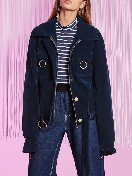 Plus Size Solid Buttoned Casual Long Sleeve Coat