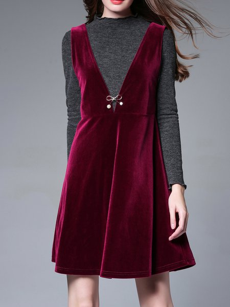 Red A-line Casual Velvet Dress With Top