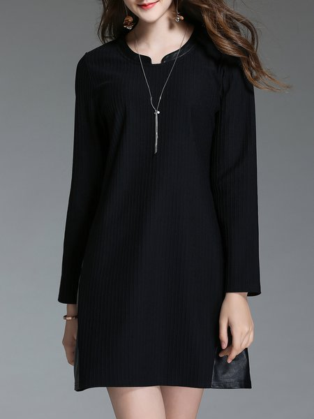Casual H-line Ribbed Solid Long Sleeve Midi Dress