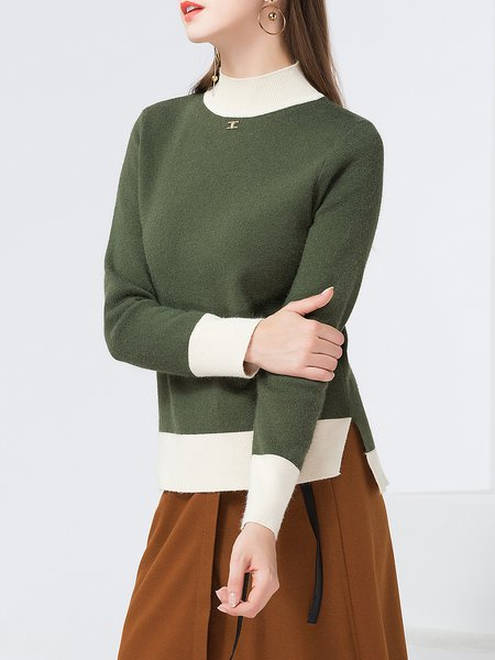 Long Sleeve Asymmetric Casual Knitted Stand Collar Sweater